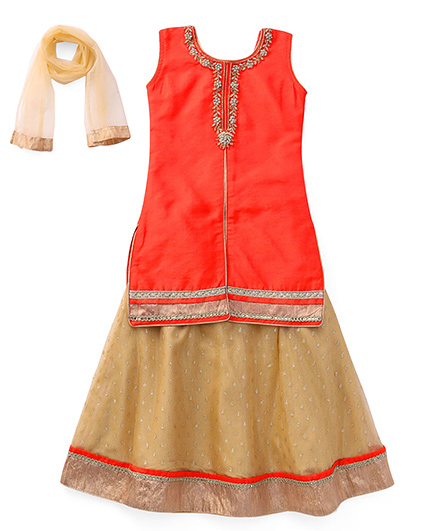 Bluebell Long Top Choli With Lehenga - Orange