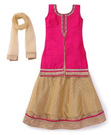 Bluebell Long Top Choli With Lehenga - Dark Pink