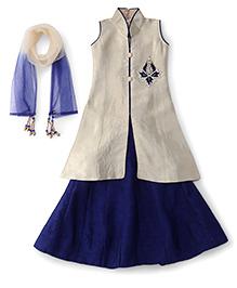 Bluebell Sleeveless Long Top Choli Lehenga And Dupatta Set - Blue