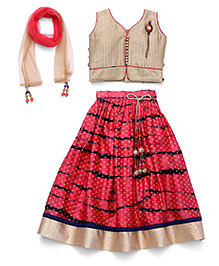 Bluebell Choli With Top And Dupatta - Fawn & Red