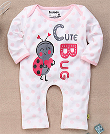 Tiny Bee Girls Polka Dot Cute Bug Infant Wear Playsuit - White & Pink