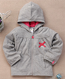 Tiny Bee Infant Hooded Jacket - Grey & Orange