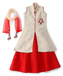 Bluebell Sleeveless Long Top Choli Lehenga And Dupatta Set - Red