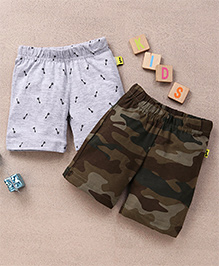 Tiny Bee Boys Camouflage & Arrow Aop Shorts Set - Grey Melange