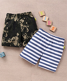 Tiny Bee Camouflage & Arrow Aop Shorts Set - White & Blue