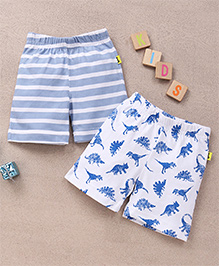 Tiny Bee Animal Print & Striped Aop Shorts Set - White & Light Blue