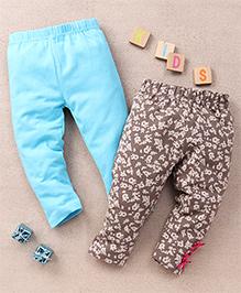 Tiny Bee Plain & Animal Print Leggings Set - Turquoise & Grey