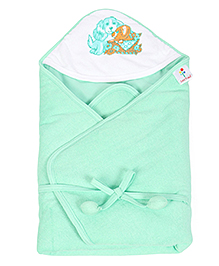 Tinycare Hooded Towel Deluxe Doggy Print - Green