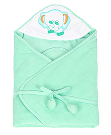 Tinycare Hooded Towel Deluxe Elephant Print - Green