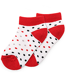 Bonjour Ankle Length Dots Design Socks - Red White