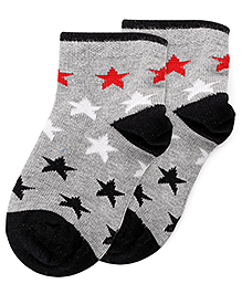 Bonjour Ankle Length Stars Design Socks - Grey Black
