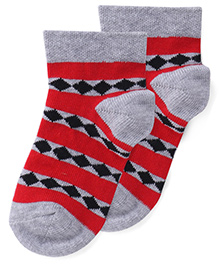 Bonjour Ankle Length Diamonds Design Socks - Grey Red