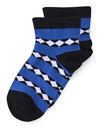 Bonjour Ankle Length Diamonds Design Socks - Black Royal Blue