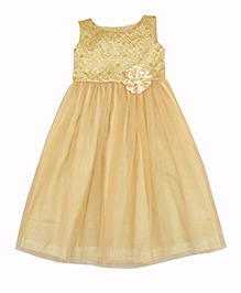 Campana Sleeveless Party Wear Net Long Dress - Cream