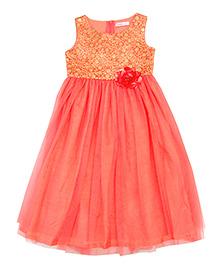 Campana Sleeveless Party Wear Net Long Dress - Peach