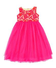 Campana Sleeveless Party Wear Net Long Dress - Magenta