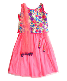 Campana Sleeveless Choli And Lehenga With Dupatta Floral Print - Pink
