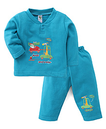 Cucumber Full Sleeves T-Shirt And Pants Set Heading To Jungle Print - Blue