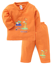 Cucumber Full Sleeves T-Shirt And Pants Set Heading To Jungle Print - Orange