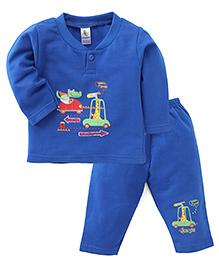 Cucumber Full Sleeves T-Shirt And Pants Set Heading To Jungle Print - Royal Blue