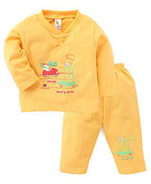 Cucumber Full Sleeves T-Shirt And Pants Set Heading To Jungle Print - Yellow