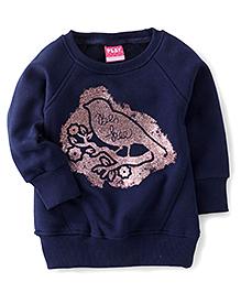 Play by Little Kangaroos Full Sleeves T-Shirt Bird Print - Navy