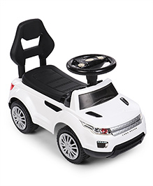 Foot To Floor Land Rover Design Ride On Vehicle - White & Black