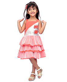Kilkari Frilled Dress With Sequin Work & Bow - Orange