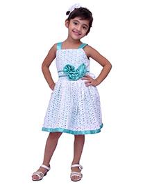 Kilkari Flower Applique Hakobaa Dress - White & Blue