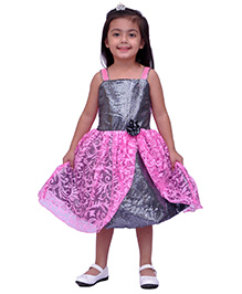 Kilkari Silhouette Style Sequin Dress In Beautiful Brasso Net - Pink