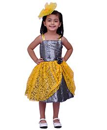 Kilkari Silhouette Style Sequin Dress In Beautiful Brasso Net - Yellow