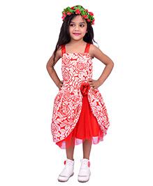 Kilkari Frill Dress With Sequins Shoulder Strap - Red