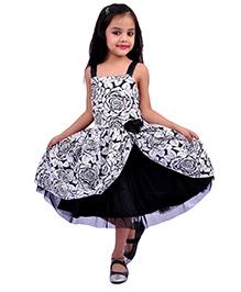 Kilkari Frill Dress With Sequins Shoulder Strap - Black
