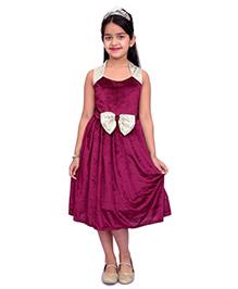 Kilkari Sequins Bow Dress - Wine