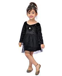 Kilkari Net Frill Flower Applique Dress - Black