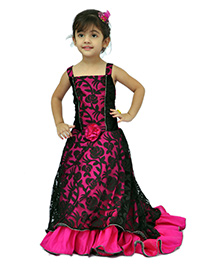 Kilkari Tail Gown With Strapped Bodice & Elasticated Back - Fuchsia