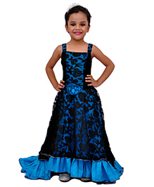 Kilkari Tail Gown With Strapped Bodice & Elasticated Back - Turquoise