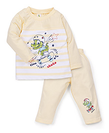 Cucumber Full Sleeves T-Shirt and Track Pants Set Dinosaur Skate Print - Yellow