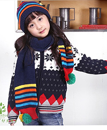 Milonee Stripe Cap & Muffler Set With Pompom - Blue