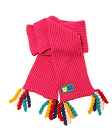 Milonee Muffler With Woolen Danglings - Red