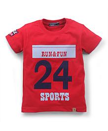 Smarty Half Sleeves T-Shirt Run And Fun Print - Red