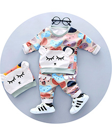 Dells World Teddy Print Full Sleeves Tee & Pant - Off White & Multicolour