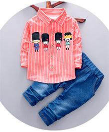 Dells World Cartoon Print Stripped Full Sleeves Shirt With Pant - Pink & Blue