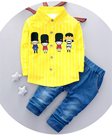 Dells World Cartoon Print Stripped Full Sleeves Shirt With Pant - Yellow & Blue