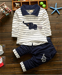 Dells World Elephant Applique Striped Print Tee & Pant - White & Blue