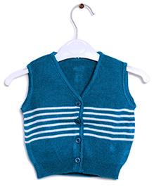 RVK Stripe Design Sleeveless Front Open Sweater - Blue