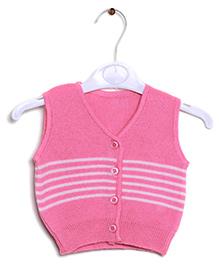 RVK Stripe Design Sleeveless Front Open Sweater - Pink