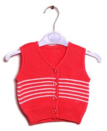 RVK Stripe Design Sleeveless Front Open Sweater - Red