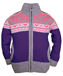 RVK High Neck Zipper With Two Front Pockets - Purple