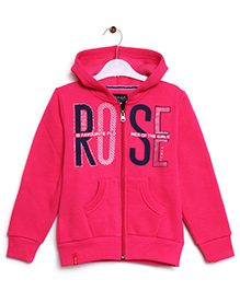 RVK Rose Text Zipper Jacket With Hoodie - Hot Pink